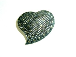 FAS 925 Sterling Silver Vintage Marcasite Heart Brooch Pin - $15.79