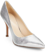 NEW NINE WEST SILVER  LEATHER PUMPS SIZE 8.5 M $89 - $34.99