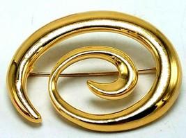 Plume Signé Napier or Brillant Ton Spirale Tourbillonnant Abstrait Broch... - $11.93