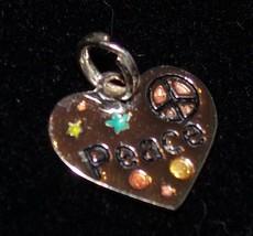 Cœur Argent Sterling Paix Pendentif Breloque Faux-Diamants Bijoux - $17.13