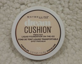 Maybelline Dream Cushion Liquid Foundation On-The-Go #10 Porcelain 0.51o... - $6.70