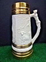 VTG 1970s Large Ceramic Beer Stein Tankard Jungle Hunting Scene by Holla... - $37.99