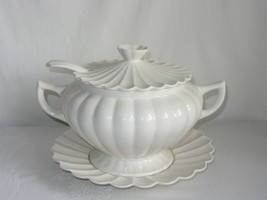 California Pottery Vtg Soup Tureen w Lid Ladle Underplate Off White Ribbed - $49.49