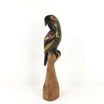 """Vintage Balsa Wood Parrot Figurine Hand Carved Hand Painted 11 1/2"""" Tall - $45.00"""