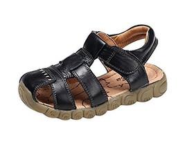 Hot Sale Boy's Summer Leather Casual Beach Sandals BLACK, Feet Length 14CM