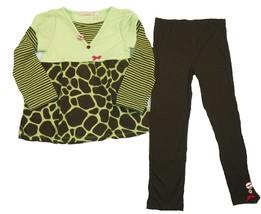 Girl's 4-7 Tunic & Leggings Set Kids Headquarters Green Brown Shirt Pants Outfit