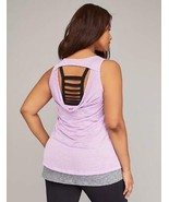 Lane Bryant Livi Active PURPLE & GRAY Drape Back Wicking Layering Tank T... - $32.08