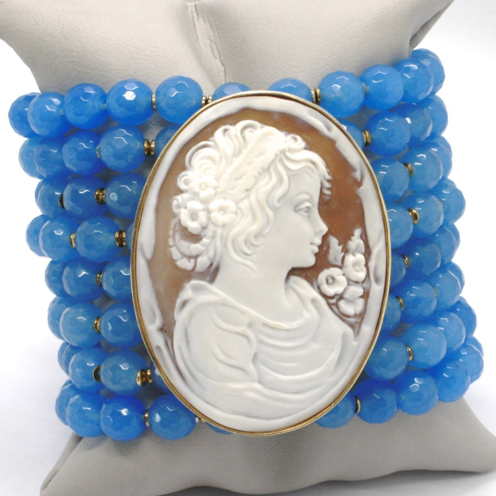 925 STERLING SILVER BRACELET BEAUTIFUL BIG LADY FLOWER CAMEO & BLUE JADE, ITALY