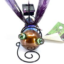 Painted Metal & Glass Solar Powered Light Garden Decoration Dragonfly Decor image 6