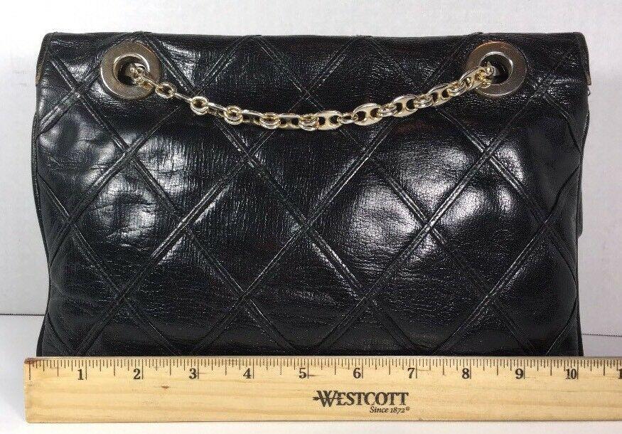 Carlotta Vintage Black Leather Shoulder Bag Chain Strap Gold Tone Hardware