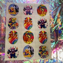 Vintage Lisa Frank Complete S109 Sticker Sheet Rainbow Patchwork Bears