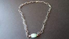 "Vintage Sterling Liz Claiborne Green Bead Necklace 17"" - $19.80"