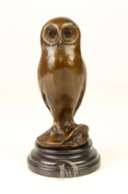Antique Home Decor Bronze Sculpture shows Wise Owl, signed * Free Air Shipping - $229.00