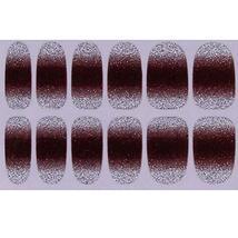 Set of 6 Stylish Bright Gradient Glittery Nail Art Stickers, Brown image 1