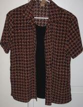 Notations 2-Piece Blouse Top Shirt Size Medium Fall Colors Black Short Sleeves - $7.95