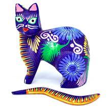 Handmade Alebrijes Oaxacan Copal Wood Carving Painted Cat Kitten Figurine image 6