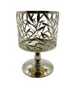 Bath & Body Works Silver Vine Leaf Pedestal Candle Holder For 3 Wick Can... - $11.87