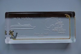 original GLASS PAPERWEIGHT,M/S CRUISE SHIP  HOLIDAY1990 PORT OF CALL,#1 ... - $23.75