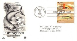 May 31, 1991 First Day of Issue, Postal Society Cover, Fishing Flies, Ta... - $1.09