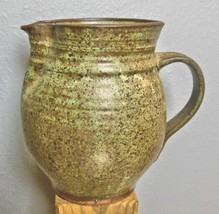 """Studio Pottery Pitcher Green and Brown Glaze 7.5"""" - $29.00"""