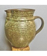 "Studio Pottery Pitcher Green and Brown Glaze 7.5"" - $29.00"