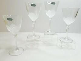 "4 Cristal D'Arques JG Durand Florence 7 1/4"" Frost Petal Wine Stem Glass... - $46.40"