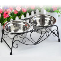 Double Stainless Steel Pet Cat Dog Puppy Water Food Feeder Dish Bowl - $23.90