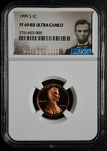1999 S LINCOLN PENNY Cent 1¢ NGC PF 69 RD ULTRA CAMEO COIN SKU# C86