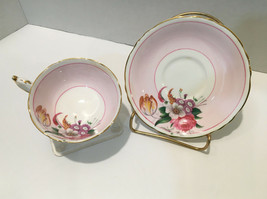 Paragon By Appointment Bone China Tea Cup & Saucer White Gold Trim Pink Floral  - $72.57