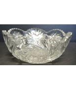 "ABP American Brilliant Period Cut Glass 8 1/4"" Bowl - Fans Hobstars Arches - $23.74"