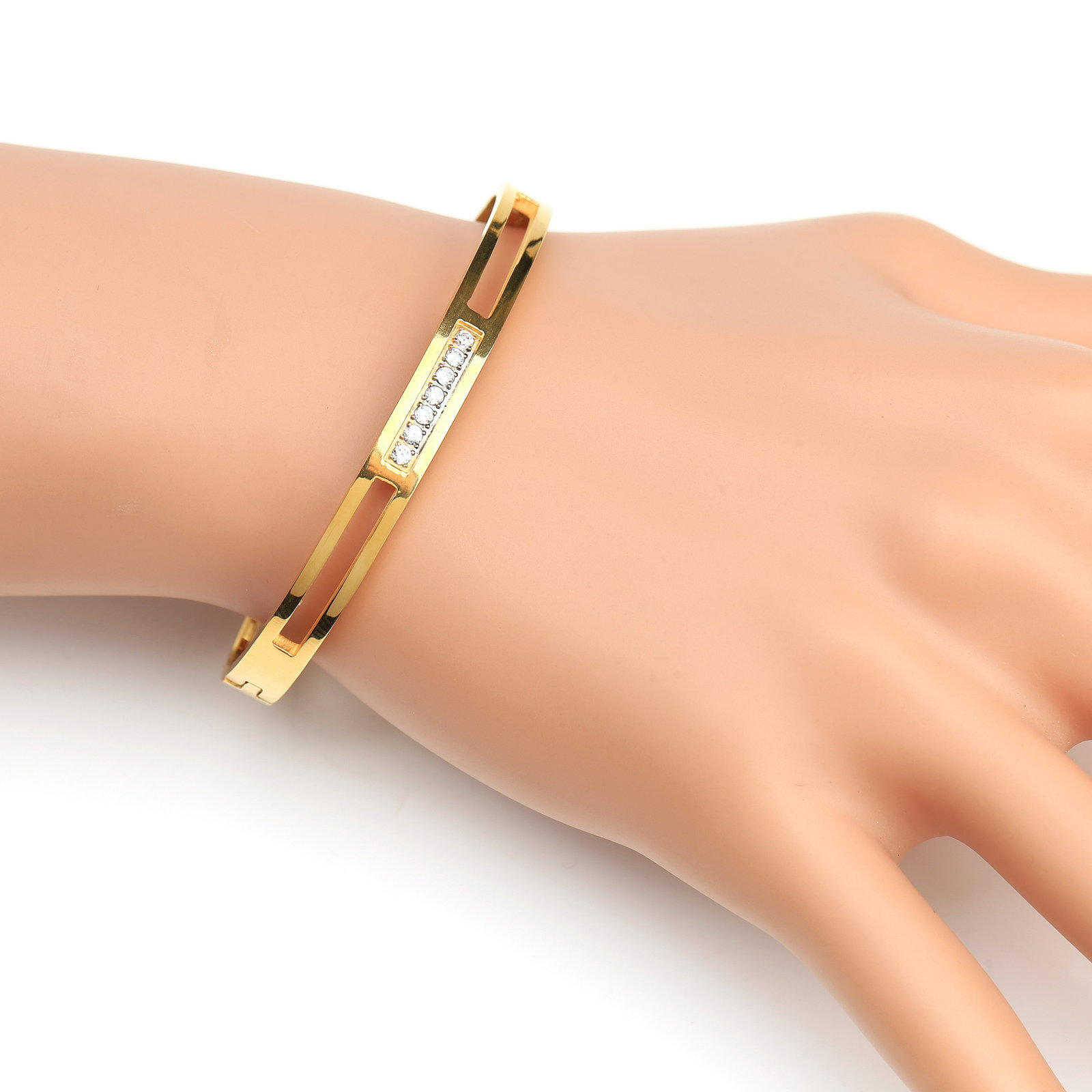 Primary image for UE- Stylish Gold Tone Designer Bangle Bracelet With Swarovski Style Crystals
