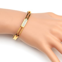 UE- Stylish Gold Tone Designer Bangle Bracelet With Swarovski Style Crystals - $17.99