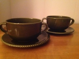 2 Crate & Barrel Stoneware 2 Handled Soup Bowls Plates Eigen Solid Dark ... - $24.47