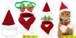 Wiz BBQT Dog Cat Pet Santa Hat Scarf and Collar Bow Tie Christmas Costum... - £12.99 GBP
