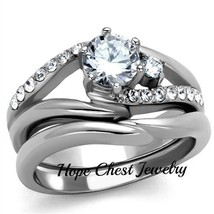 HCJ STAINLESS STEEL 0.75 CT ROUND CUT CZ ENGAGEMENT WEDDING RING SET SIZE 9 - $18.49