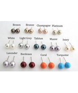 Swarovski Pearls Stud Earrings Bridesmaid Gift Available in 11 Colors We... - $8.40