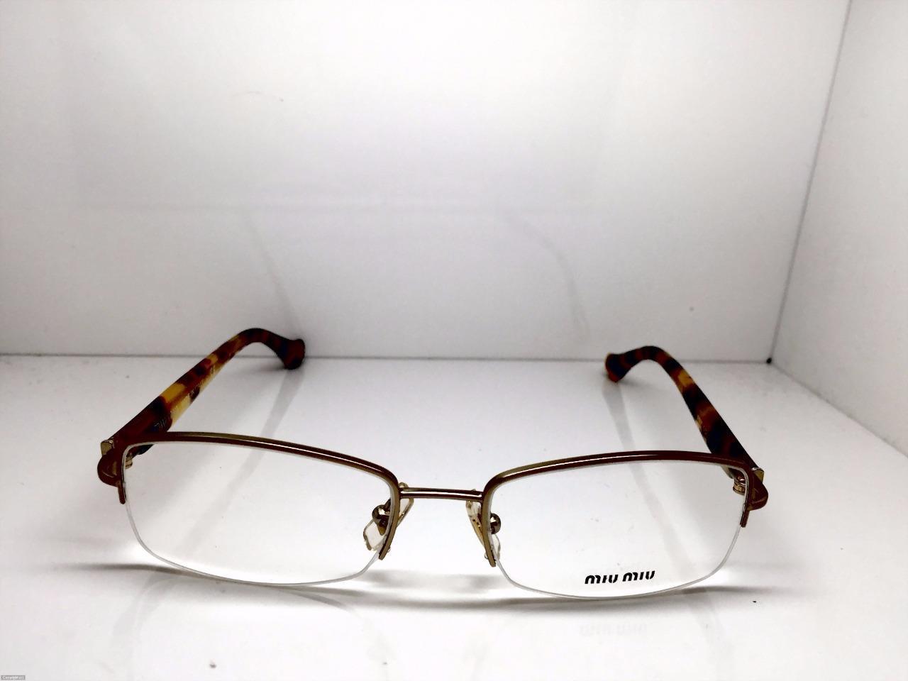 27b46ed13f2 MIU MIU Half Rimless Tortoise Cheetah print eyeglasses VMU51I EAG 1O1 51MM