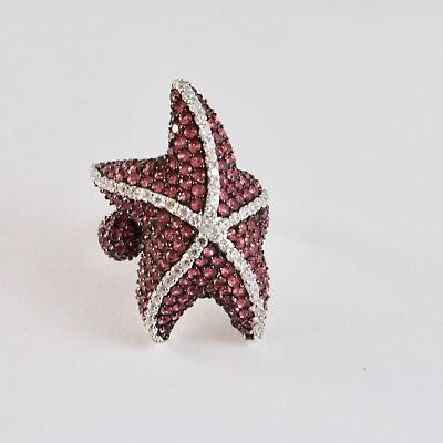 925 SILVER RING RHODIUM AND BURNISHED WITH ZIRCON CUBIC STAR MARINA