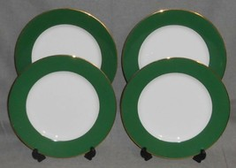 Set (4) Crate & Barrel GREEN BAND PATTERN Dinner Plates GOLD TRIM - $39.59