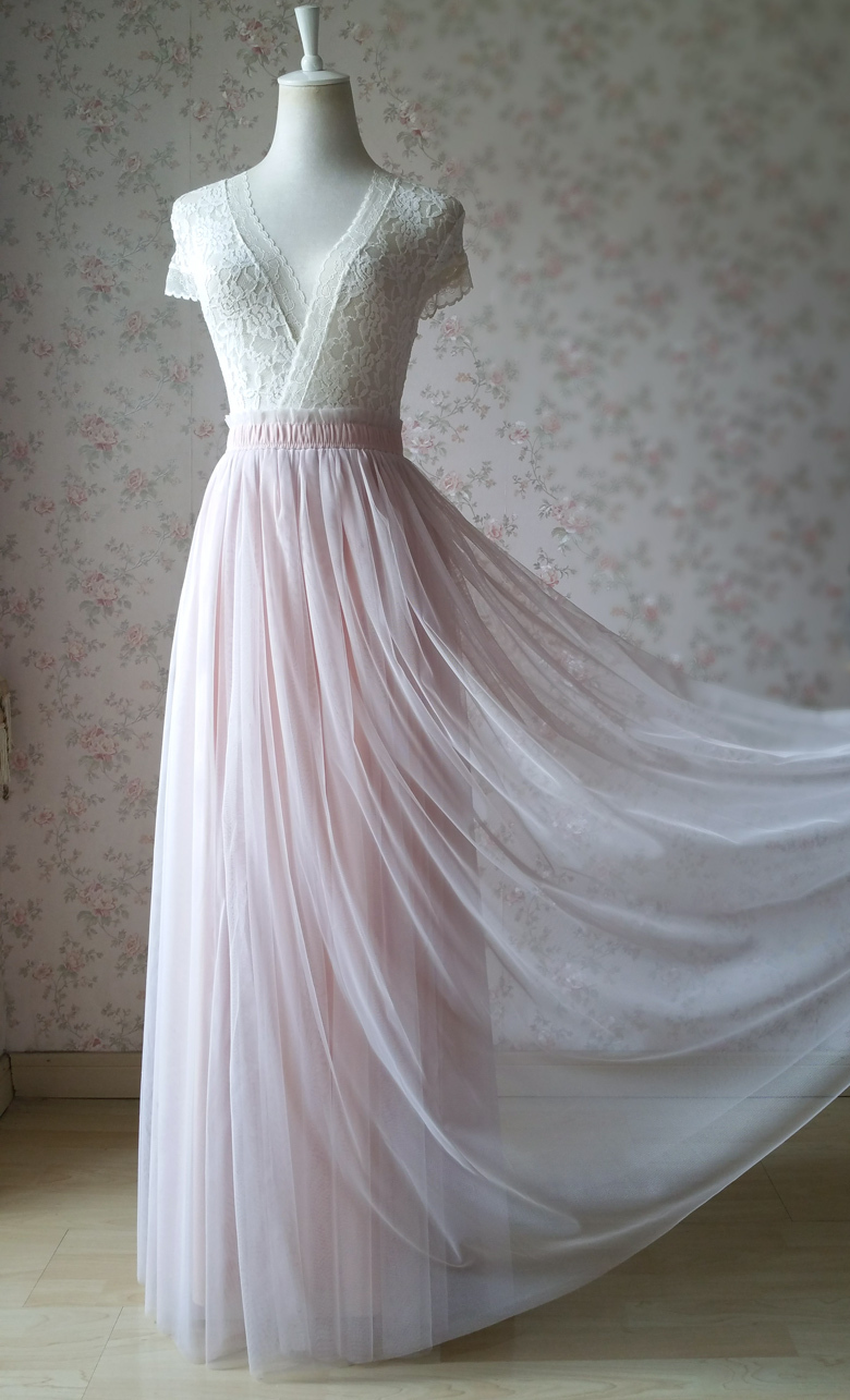 Peach pink tulle skirt 6