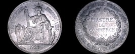1927-A French Indo-China 1 Piastre World Silver Coin - Vietnam - $159.99