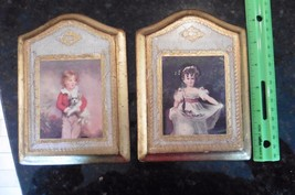 Lot of 2 Italy Florentine Wood 2 Renaissance wall Plaques Girl & boy w/ ... - $22.13