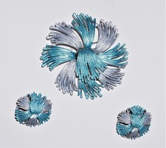 Powder Coated Blue Gray Silvertone Coverter Brooch Matching Earrings - $26.36