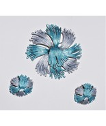 Powder Coated Blue Gray Silvertone Coverter Brooch Matching Earrings - $34.78 CAD