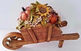 "Fall Wheel Barrel W/Pumpkins & Sunflowers - Lg Heavy Resin 15"" x 6"" x 11"" - $68.93 CAD"