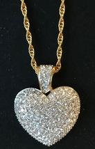 SWAROVSKI CRYSTAL PUFF PAVE' HEART NECKLACE - £152.21 GBP
