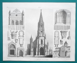 ARCHITECTURE Gothic Churches Venice Paris Freiburg - 1844 Superb Print - $25.20