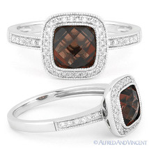 2.27 ct Garnet Gem & Round Cut Diamond Pave Halo Engagement 14k White Go... - €481,35 EUR