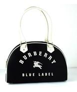 Auth Burberry London Blue Label Logo Hand Bag Black Nylon, Leather Handb... - $147.51