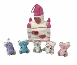 Unipak 5 Unicorn Horse Plush White Castle Carrying Case 2015 Toy - $58.40